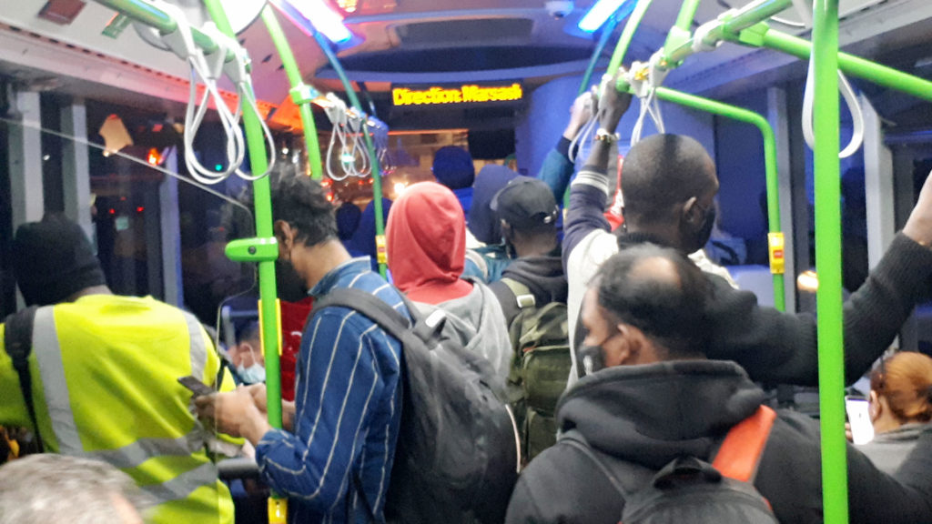 Snapshot of an overcrowded 91 bus, Malta 2021